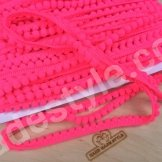 Тесьма с помпонами. Цвет неоновый ярко розовый
