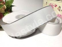 репсовая лента с серебряным люрексом двухсторонняя